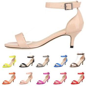 LOSLANDIFEN Fashion Multicolour Open Toe Ankle Strap Women Sandals Sexy High Heels Lady Shoes Buckle 5cm Low Heel Summer Sandals