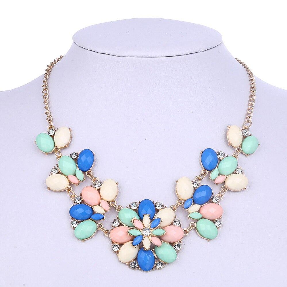 Fashion Candy color Rhinestone Flower font b Necklaces b font Collier Femme Crystal font b Pendant
