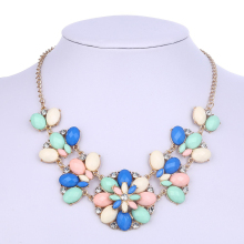 Fashion Candy color Rhinestone Flower Necklaces Collier Femme Crystal Pendant Necklaces Jewelry Accessories GN609