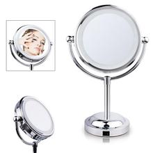 6/7/8 Inch Double-Sided Lighted Cosmetics Mirror with LED Light and 3X Magnification Swivel Table Top Illuminated Makeup Mirror