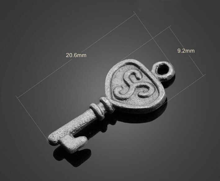 Купить с кэшбэком 100pcs Antique Pewter alloy Keys Charms Pendant-Jewelry Findings Earring Necklace Bracelet Cell Phone Accessories 20.6mm X 9.2mm