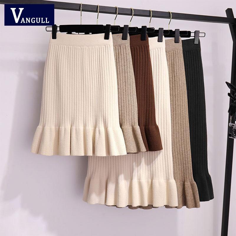 Vangull Mulheres ruffle midi saias plissadas maxi saia longa camisola feminina Inverno malha quente cintura alta elegante Saias Jupe Femme