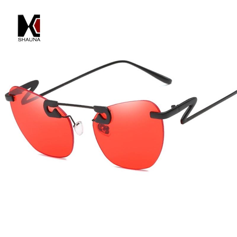 SHAUNA Unique Pin Sharp Bridge Women Rimless Cat Eye Sunglasses Fashion Men Transparent Pink Lens Shades UV400