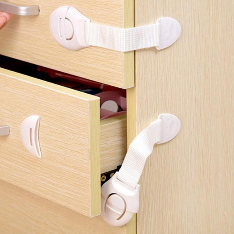 1pc/5pcs Drawer Door Cabinet Cupboard Toilet Safety Locks Baby Kids Safety Care Plastic Locks Straps Infant Baby Protection