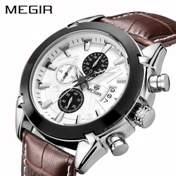 Megir оригинальные мужские кварцевые часы Reloj Hombre кожа бизнес часы мужские часы хронограф армии военные часы спортивные для мужчин