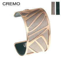 Hollow Wide Bracelet Rose Gold Cuff Bangles For Women Bijoux Cremo Stainless Steel Jewelry 13 Color Reversible Leather Pulseira(China)