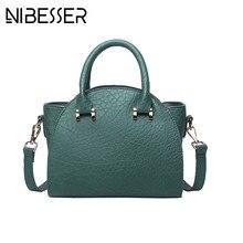 Nibesser 2017 mujeres de la vendimia bolso de mano pu señora Messenger Bag color sólido moda Bolsos Crossbody para las mujeres Bolsos Mujer