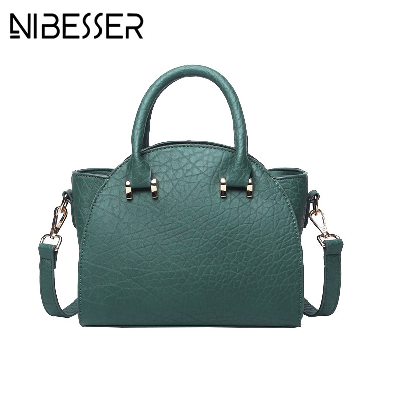 NIBESSER 2017 Vintage Women Hand Bag PU Leather Lady Messenger Bag Solid Color Fashion Crossbody Bags For Women bolsos mujer