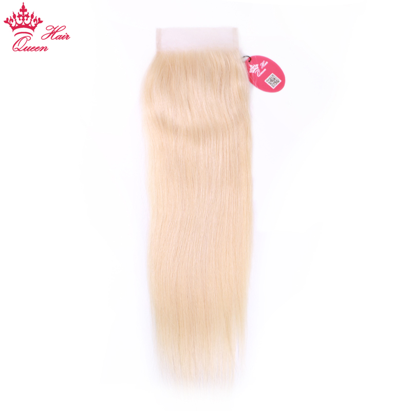 Queen Hair Blonde Lace Closure Brazilian Straight Hair 4*4 Free/Middle Part Swiss Lace 613 Blonde Closure Remy Human Hair image