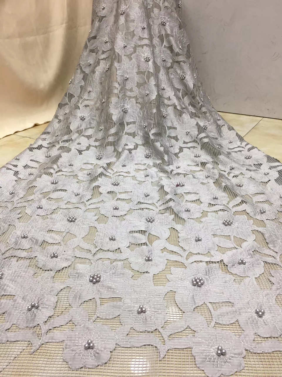 Newly Designed Embroidery Fabric, African Grid Lace Fabric French High Quality Lace with Delicate BeadsNewly Designed Embroidery Fabric, African Grid Lace Fabric French High Quality Lace with Delicate Beads