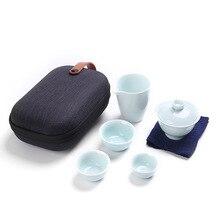Купить с кэшбэком Fang ran wholesale wholesale porcelain celadon cup, tea set, a pot of three cups of portable travel bags gift logo customization