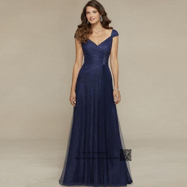Elegant Champagne Navy Blue Long Lace Mother of the Bride Dresses 2017  Abiye Gece Elbisesi Godmothers Wedding Evening Dress 375f92e8f463