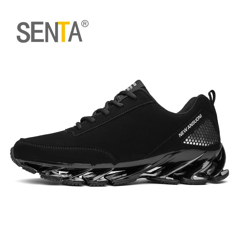 SENTA Blade Running Shoes For Men Antiskid Damping Cool Outsole Walking Trekking Leisure Outdoor Sports Running Zapatills Black