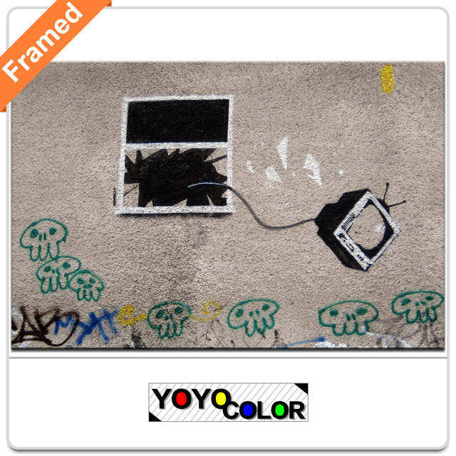 B735 Banksy ventana tv, enmarcado lona de la pintura de la impresión ...