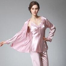 Lady Silk Satin Pajama 3PCS Women Sexy Pajama Set Sleepwear V-neck Top Full Sleeves Full Length Pant Nightwear Autumn Spring see through slip pajama top transparent sleepwear