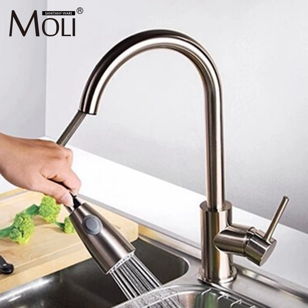 Kitchen faucet pull out hot and cold water kitchen tap nickel brushed mixer kitchen sink tap kitchen chrome plated brass faucet single handle pull out pull down sink mixer hot and cold tap modern design