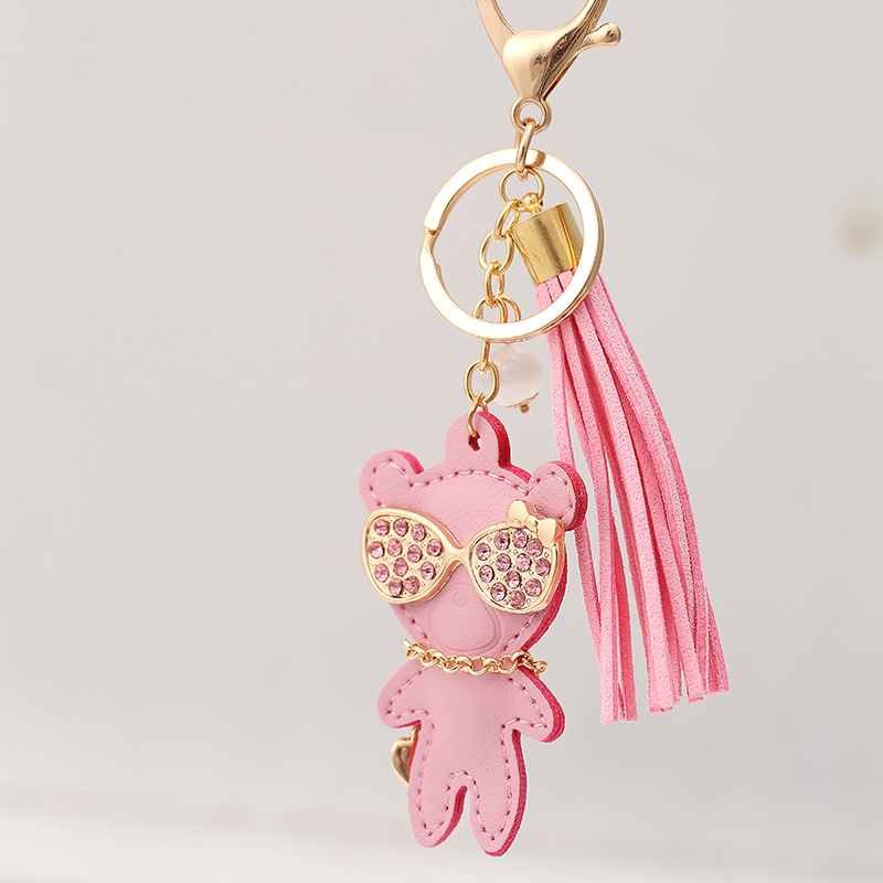 Novelty Rhinestone Leather Bear Tassel Pendant Keychain Fashion Creative Car Key Chain Ring Charm Women Bag Decoration Gift R193