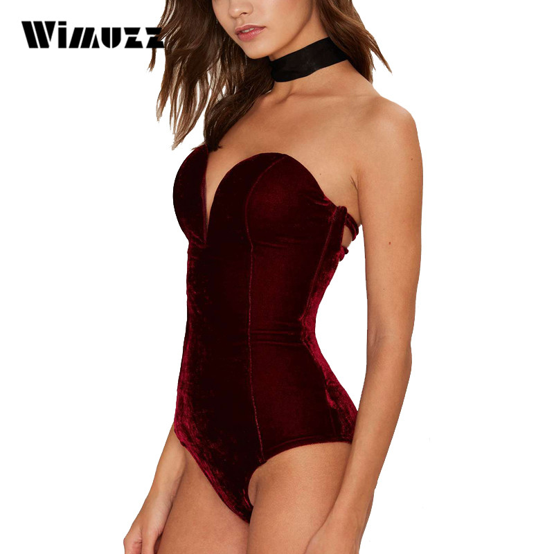 Wimuzz Strapless Sexy Bodysuit Women Velvet Elegant Jumpsuit Rompers One Piece Lace Up Backless Velour Bodysuits