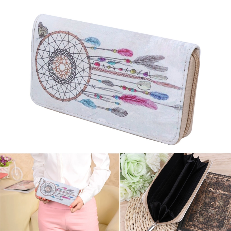 New 2018 Dream Catcher Women Clutch Wallet Faux Leather Purse Long Card Holder Coin Bags feather printing pu dream catcher women long wallet female long clutch zipper coin purse phone card holder portefeuille femme