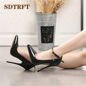 Image 4 - SDTRFT US9 14 15 16 17 18 Spring Gold Bottoms Patent Leather shoes Red Ankle Strap Pointed Toe Wedding pumps Crossdresser Mujer