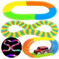 220Pcs Glow Track Bend Flexible Glowing Race Track Set Magic Plastic Racing Track +1pc LED Light Car DIY Kids Toys Children Gift