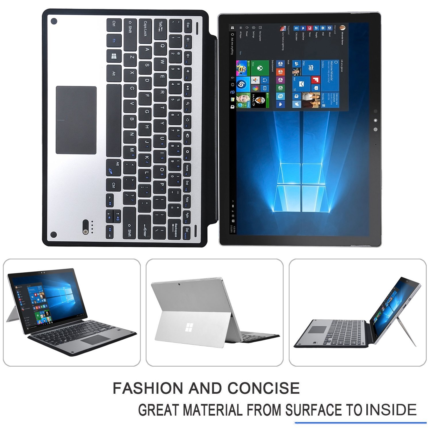 Ultra-Thin High Quality DETACHABLE Bluetooth Keyboard Stand Case / Cover for Microsoft Surface Pro 4 12.3-inch Tablet цена и фото