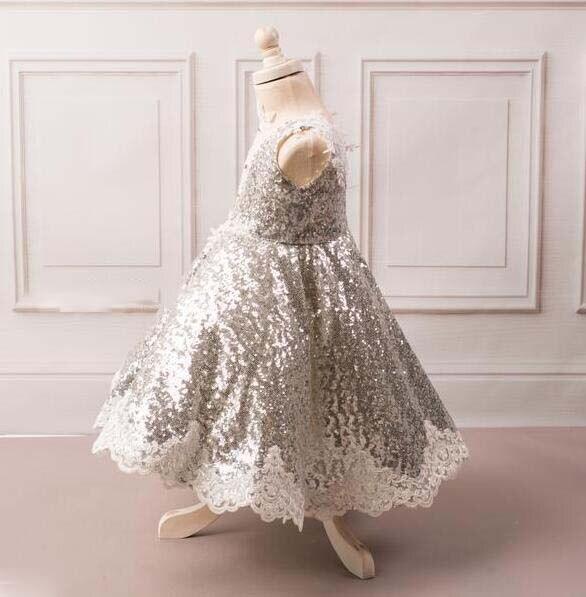 Mode v-cou princesse bling argent paillettes enfant en bas âge pageant robe de demoiselle d'honneur pour la fête d'anniversaire avec des cristaux de dentelle - 3