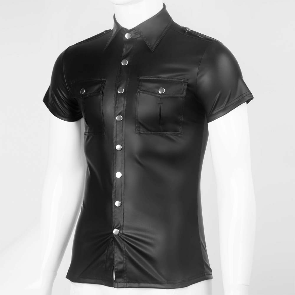 Men's Sexy Blouse   Shirts   Soft Faux Leather Man Fashion Uniform   T  -  Shirts   DS Night Clubwear Punk Uniform Corset Gay Male Clothing