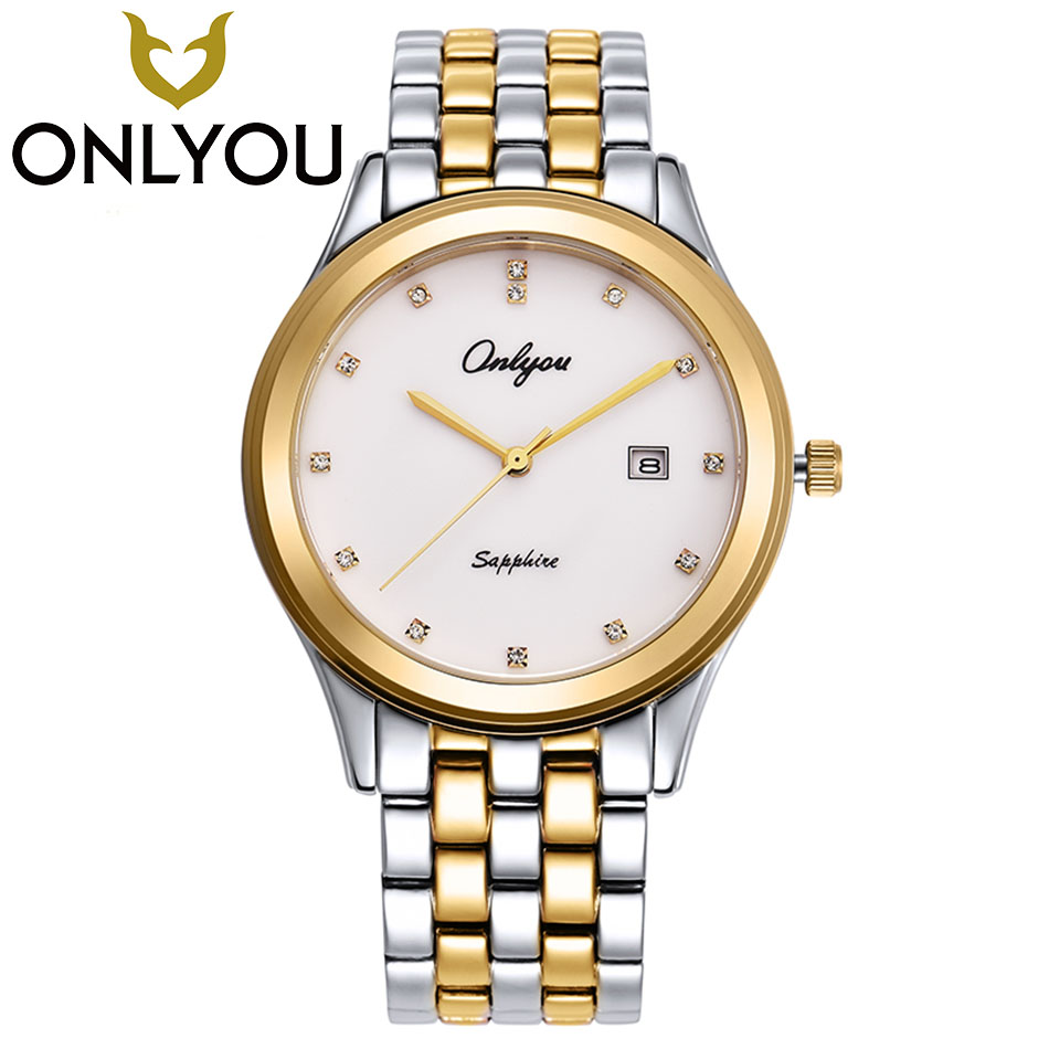 ONLYOU Lovers Watches Men Women Luxury Business Gold Watch Waterproof Unique Fashion Casual Quartz Male Dress Clock Gift onlyou lovers quartz watches luxury men women fashion casual watch 50m waterproof simple ultra thin design wristwatches