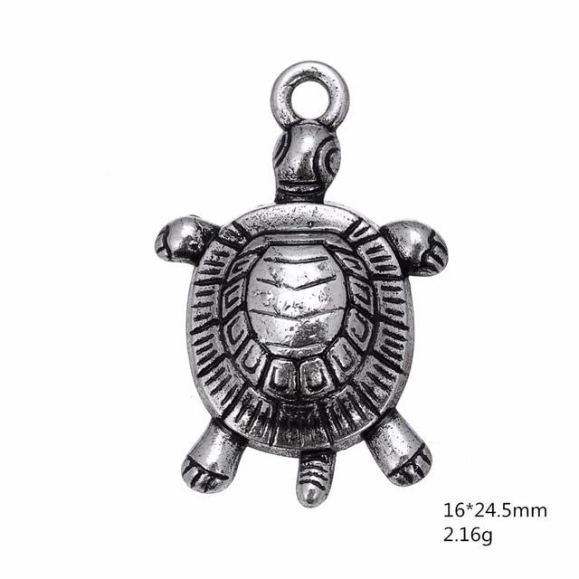 Skyrim 10 pièces symbole tortue nautique un côté breloque animale pour collier à faire soi-même et Bracelet en métal pendentif en argent pour la fabrication de bijoux
