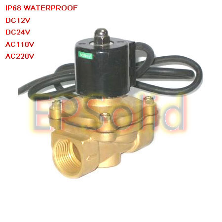 Free Shipping 3/4'' Thread IP68 Underwater Solenoid Valve Brass Waterproof AC220V 2W200-20-G 2/2 Way free shipping 1 2 female thread tube solenoid valve 1 2 male thread in ac220v solenoid valve with manual switch