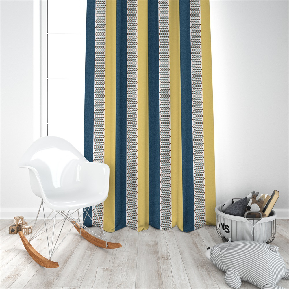 Fashion Nordic Dark blue yellow Geometric vertical stripe wave curtain living room Shading curtain polyester printed curtain in Curtains from Home Garden