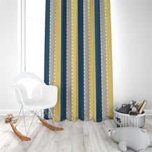 Fashion Nordic Dark blue yellow Geometric vertical stripe wave curtain living room Shading polyester printed