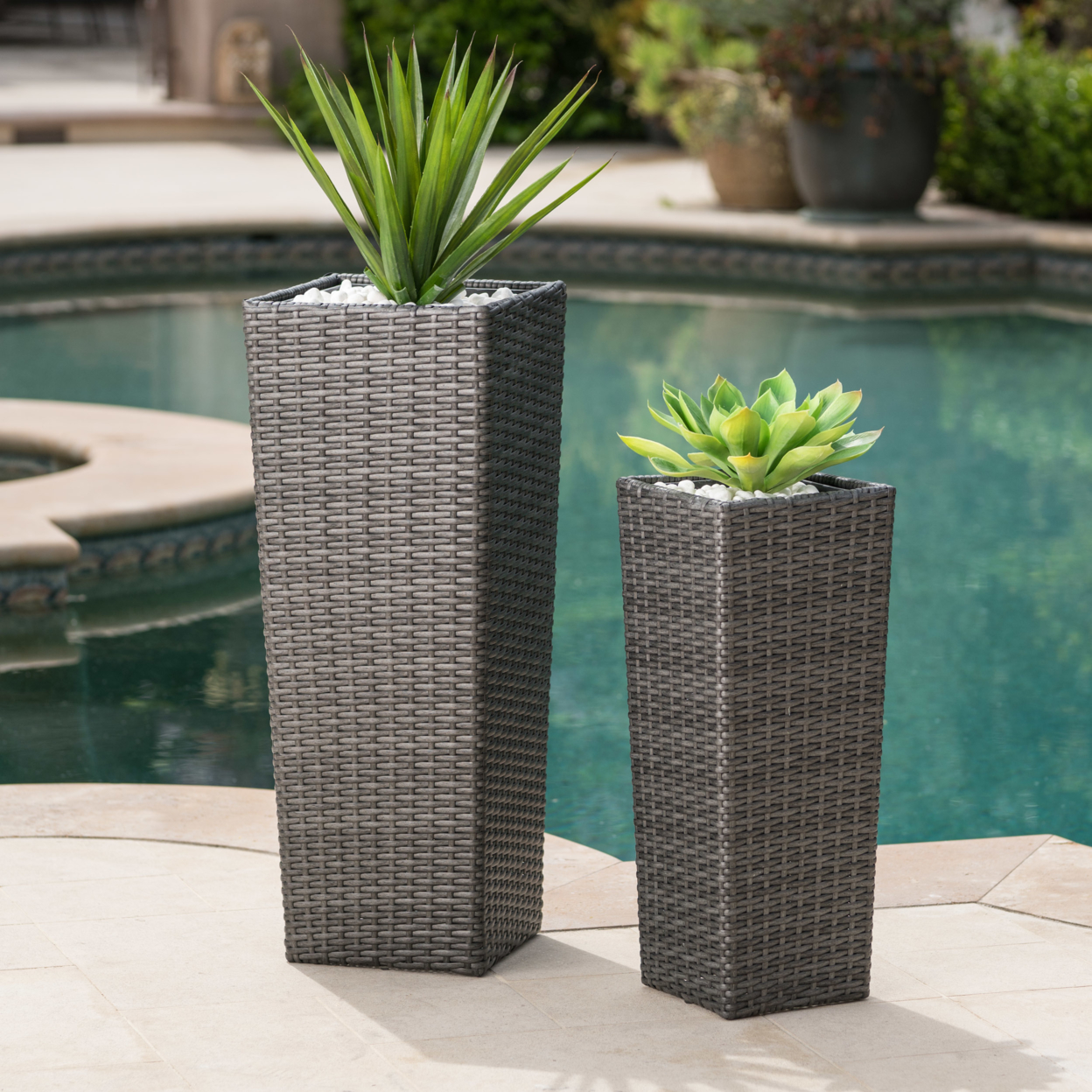 Eden Outdoor Wicker Flower Pots (Set of 2) west of eden