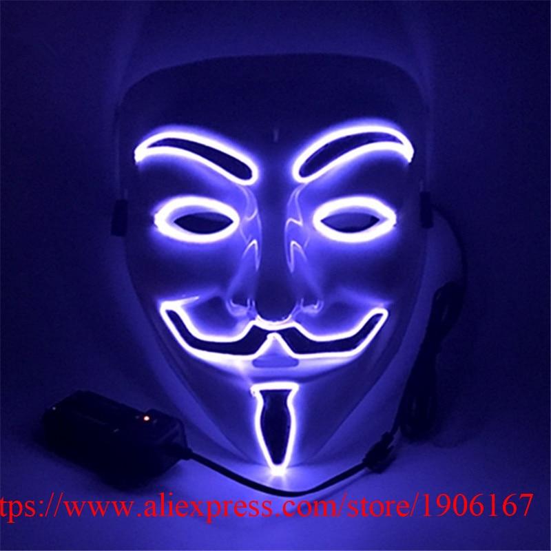 Colorful EL Wire Luminous Mask Night Club Show Illuminate Flashing Halloween Masquerade Party Masks Performance Dancewear