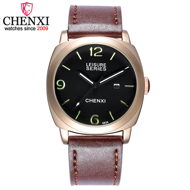 2017 NEW Top CHENXI Brand Luxury Leather Men Wristwatches Men Quartz Sports Watches Relogio Masculino Casual Clock Gift Watch chenxi men gold watch male stainless steel quartz golden men s wristwatches for man top brand luxury quartz watches gift clock