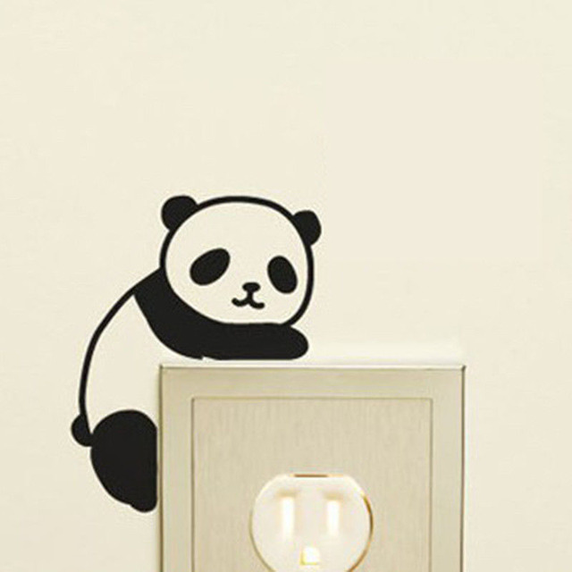 Quote New Cute Panda Wall Stickers Light Switch Decals Home Art