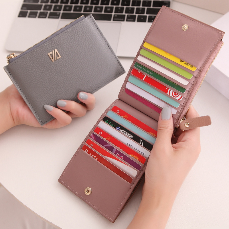 16 Card Slots Genuine Leather Women Card Holders Fashion Brand Women Leather Card Wallet Female Credit Card Holders Business 2018 new fashion unisex credit card holders genuine leather multi pvc card slots metal hasp business card id holders cow leather