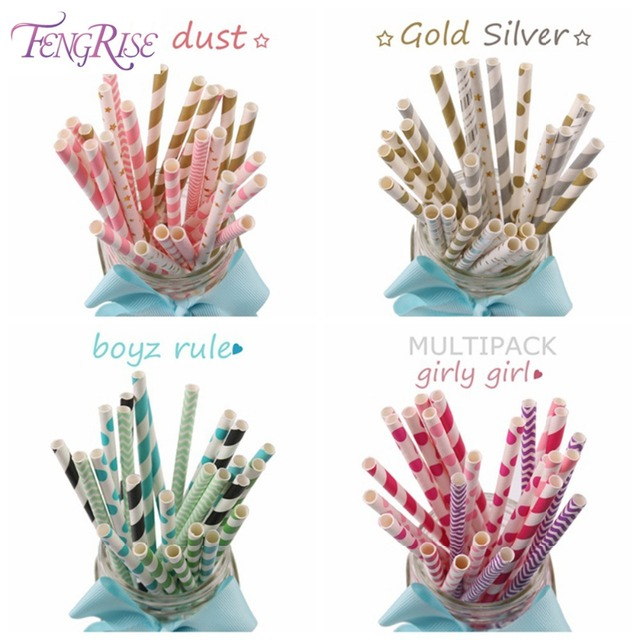 FENGRISE 25 Pieces Paper Drinking Straws Polka Dot Party Straws Baby Shower Boy Girl Party Decorations Kids Birthday Supplies