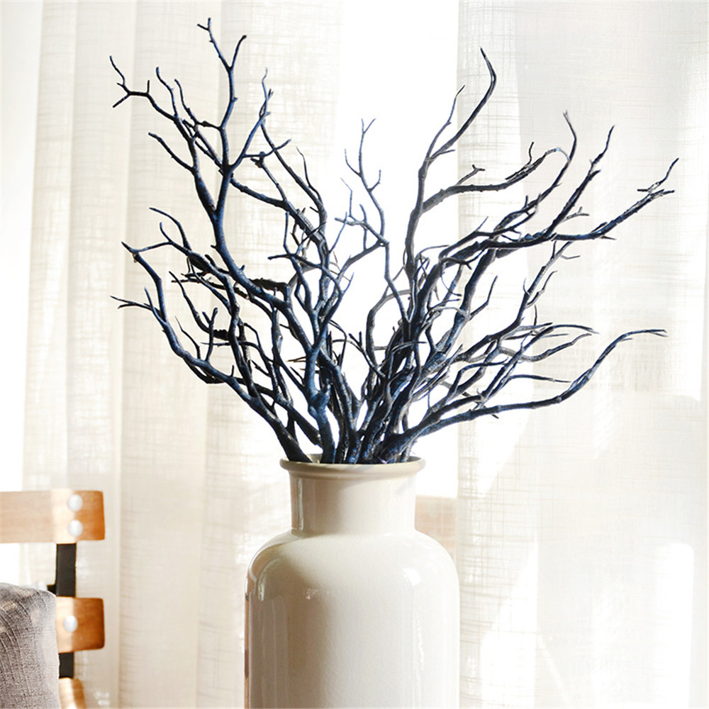 2pcs/set Manzanita Dry Artificial Fake Foliage Plant Tree Branch Wedding Home Church Office Furniture Green White 36cm