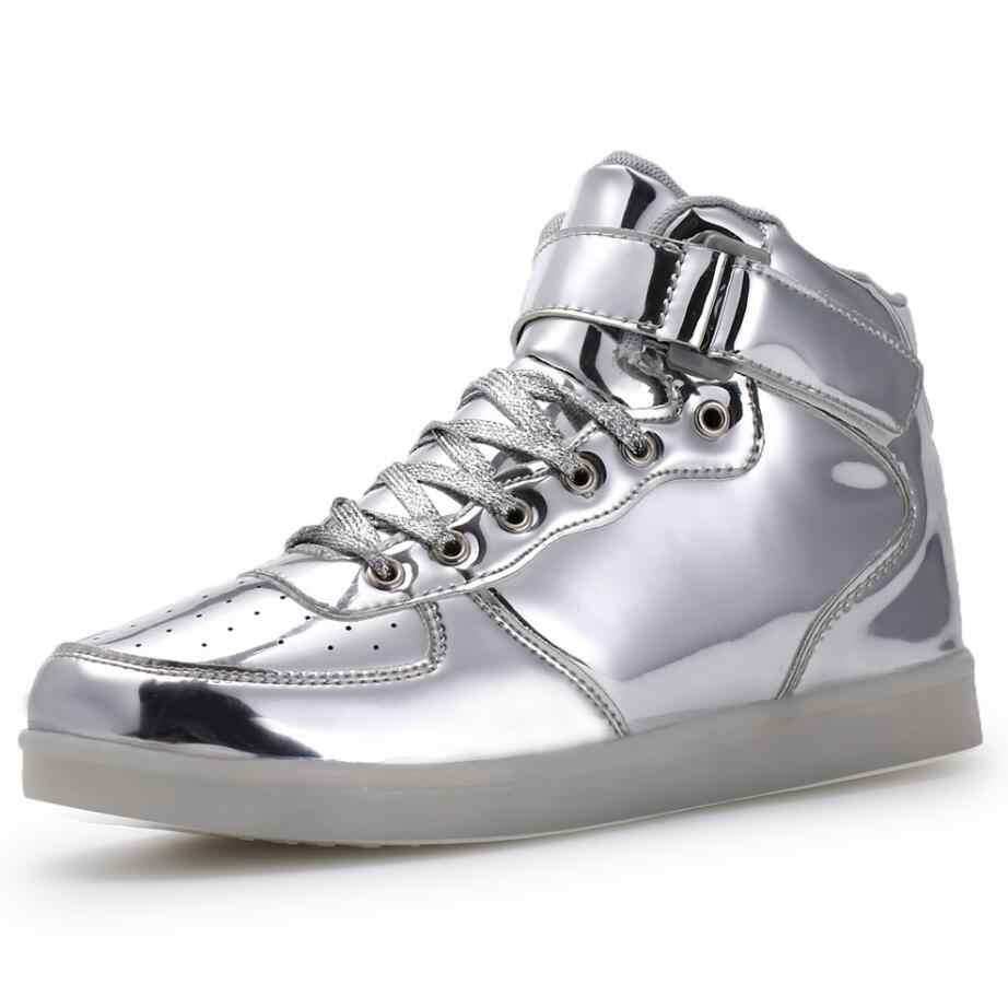 EU 25-46 Led Schuhe für kinder und erwachsene USB ladegerät Licht Up Air force für jungen mädchen männer frauen Fashion Party Glowing Turnschuhe