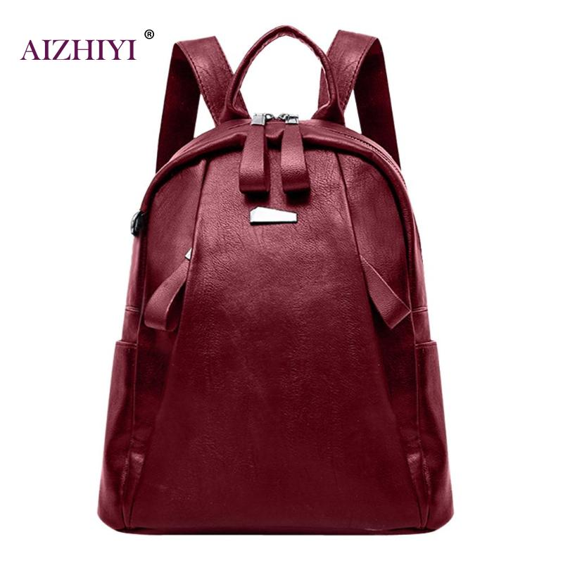 Women Solid PU Leather Backpacks Mochila Escolar Teenagers Zipper School Bags Girls Teenage Travel Casual Shoulder Bag Rucksack fashion women leather backpack rucksack travel school bag shoulder bags satchel girls mochila feminina school bags for teenagers