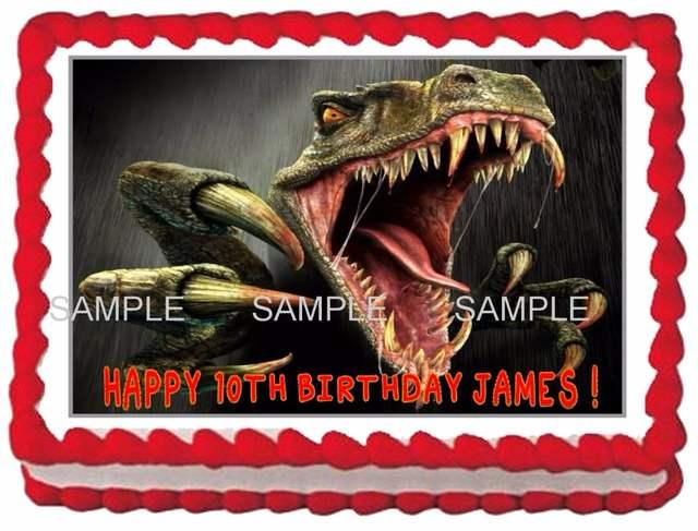 Placeholder T Rex Dinosaur Edible Cake Topper Wafer Rice Paper Decoration Custom Birthday Decor Cupcake