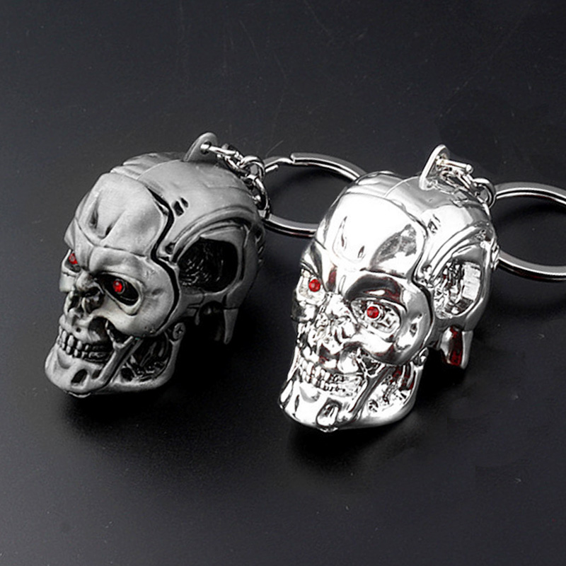 SG Terminator Keychains Skull Head Logo Keyring The Punisher Skull Key Chain Punisher Skeleton Men Keychains Cosplay Jewelry