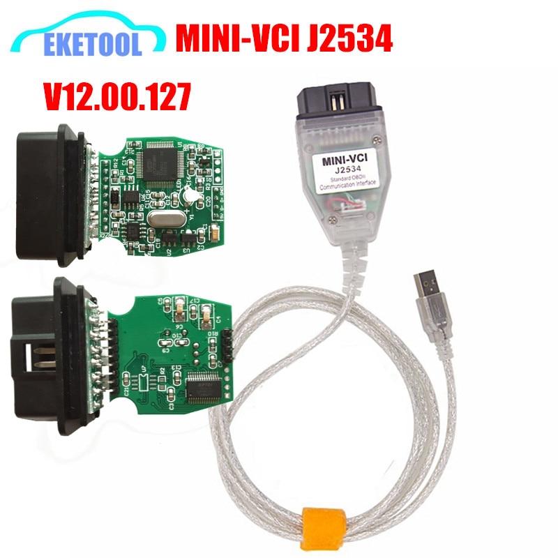 Prix pour Excellente FT232RL Vert PCB MINI-VCI J2534 Interface OBD2 Véhicule Diagnostic MINI VCI V12.00.127 Pour TOYOTA Avancée Diagnostic
