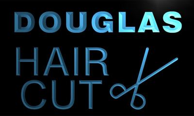 x0045-tm Douglas Hair Cut Shop Scissor Custom Personalized Name Neon Sign Wholesale Dropshipping On/Off Switch 7 Colors DHL
