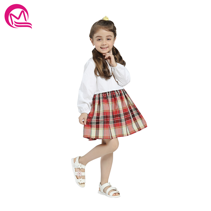 Girls Summer Spring Dress 2018 New Arrival Casual Style Long Sleeve Patchwork Loose Dresses Kids Clothes Girl Dresses Cotton new cotton girl dress casual knee length solid long sleeve kids dresses for girls yellow baby girl dress spring fall 2017 hot