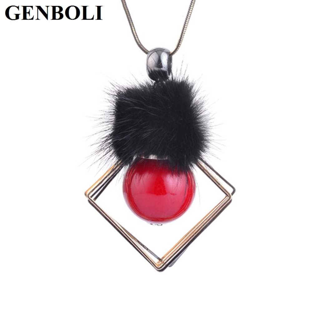 GENBOLI 3 Colors Fashion Sweater Accessories Unique Design for Women Lady Geometric Shape Sweater Necklace Jewelry hot sales