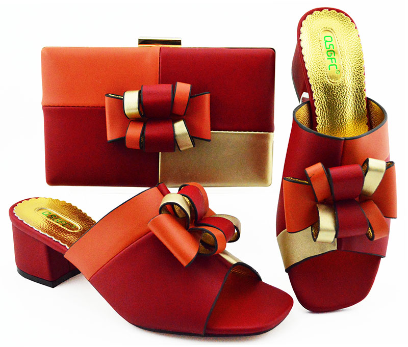 Red elegant contrast color slippers and clutches 2019 italian shoes and bag for african aso ebi fashion shoe and bag SB8346-5Red elegant contrast color slippers and clutches 2019 italian shoes and bag for african aso ebi fashion shoe and bag SB8346-5