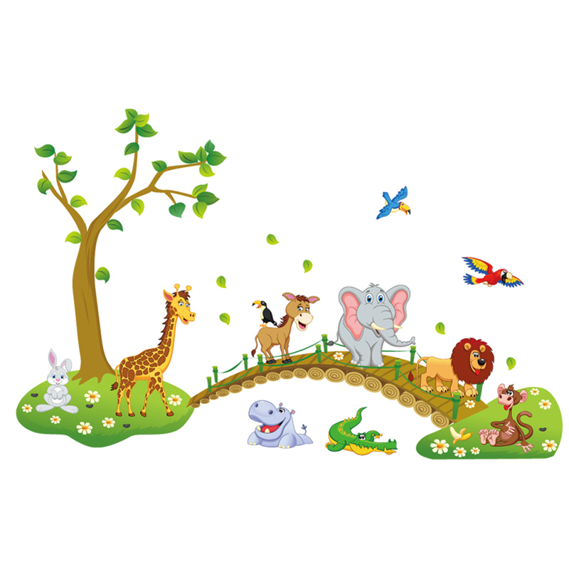 Cartoon Lovely animals cross the bridge DIY Vinyl Wall Stickers Kids room gift Home decoration Art Decals creative 3D Wallpaper ...